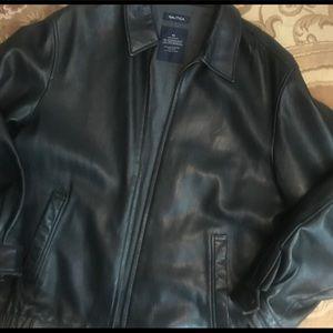 Men's Nautica Leather Jacket Black Size 42 Large